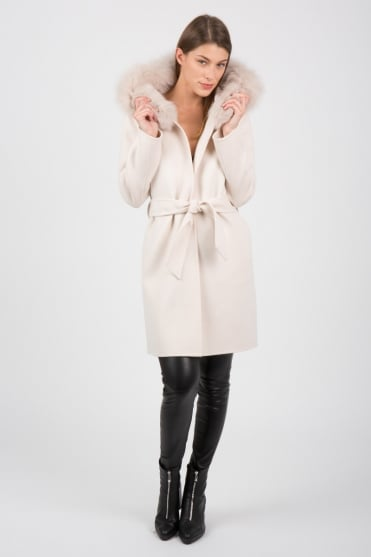Limited Edition Belted Cream Fur Coat