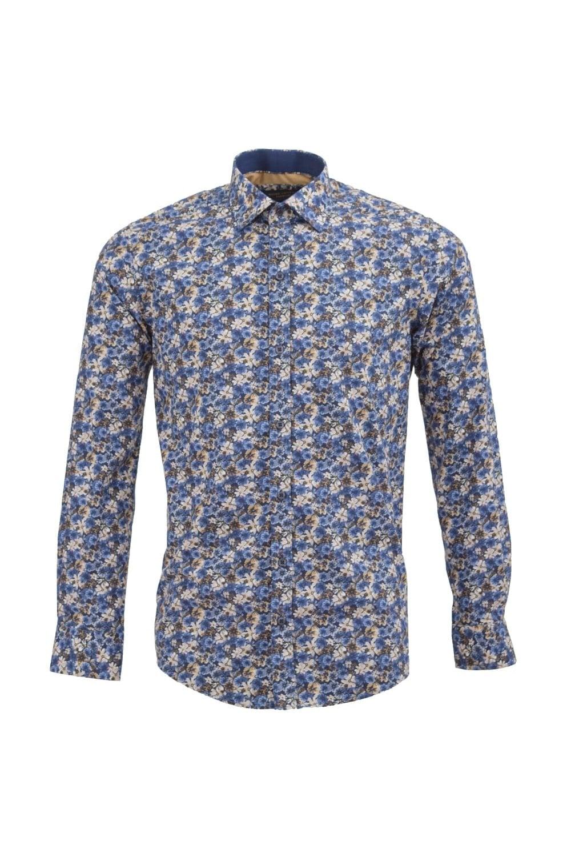 guide london men s guide london 74540 flower cotton blue shirt man