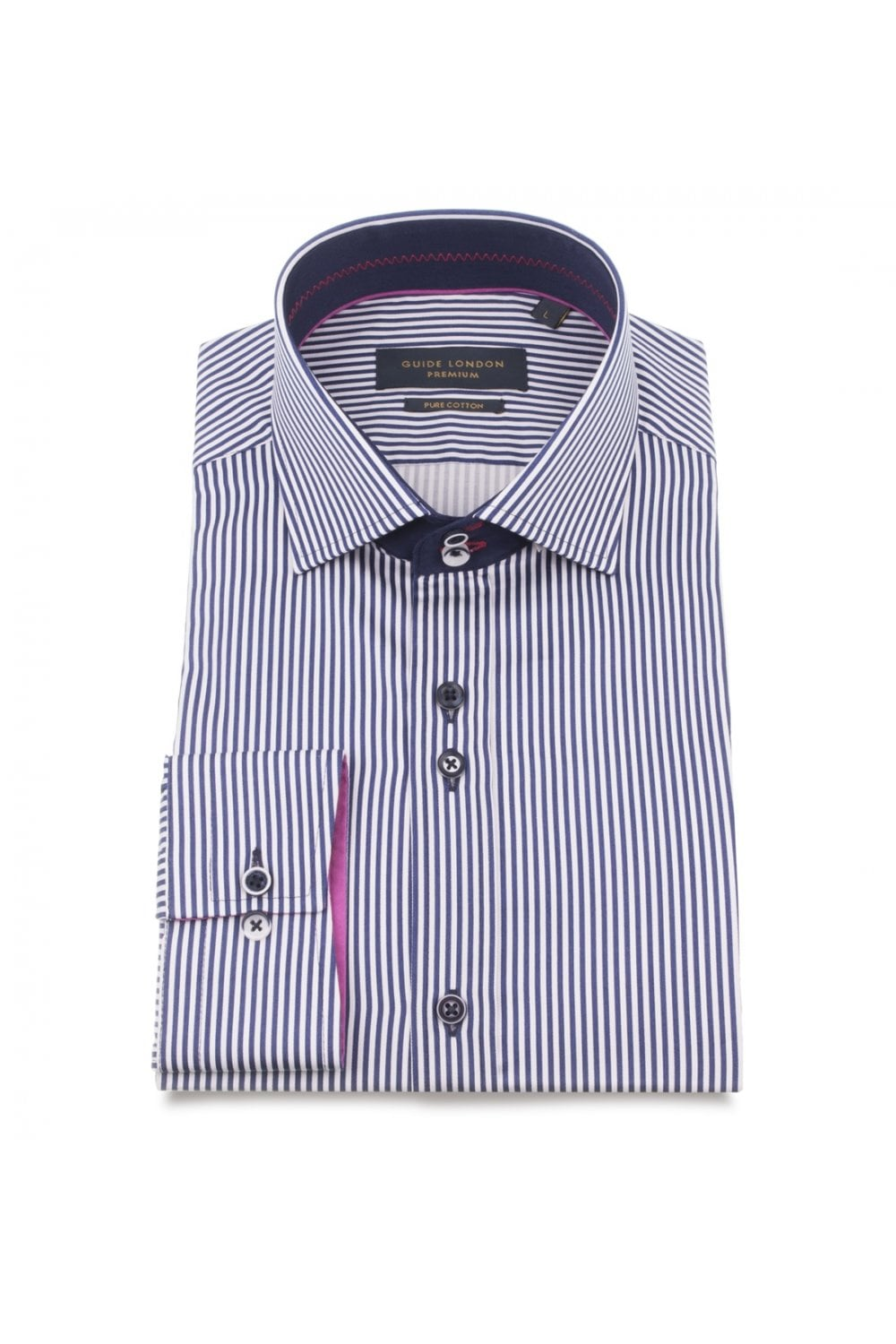 05617175862 GUIDE LONDON Men s Guide London LS74701 Stripe Mixed Button Shirt in ...