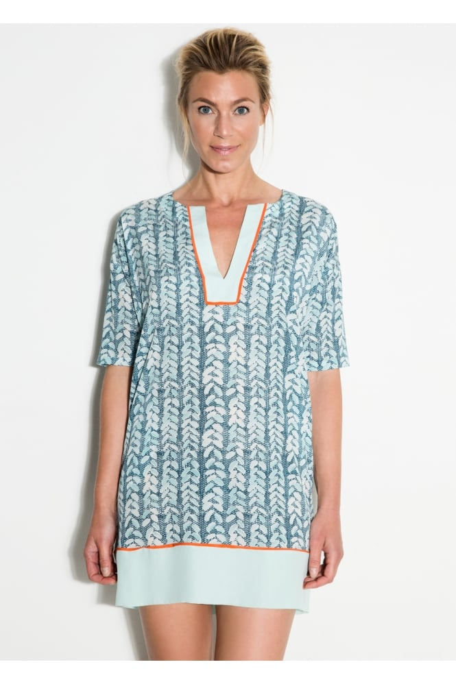 Mille Frydenberg Blue Paint Leaf Tunic Dress