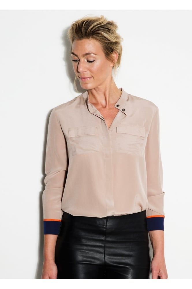 Mille Frydenberg Colour Cuff Silk Shirt