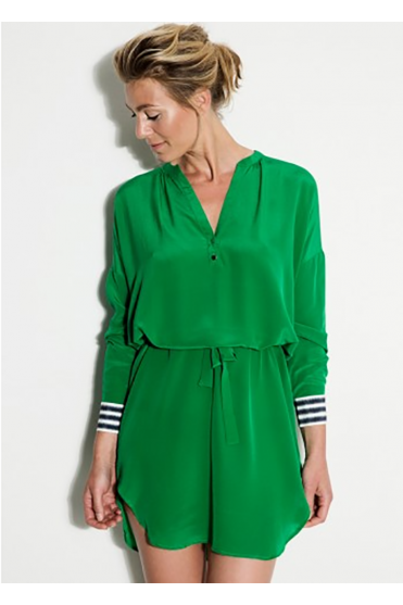 Green Graphic Tunic Tie Dress