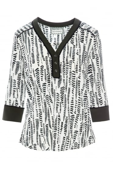Jolie Black/White Silk Blouse