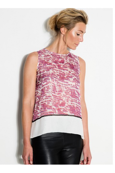 Snake & Graphic Pleat Sleeveless Top