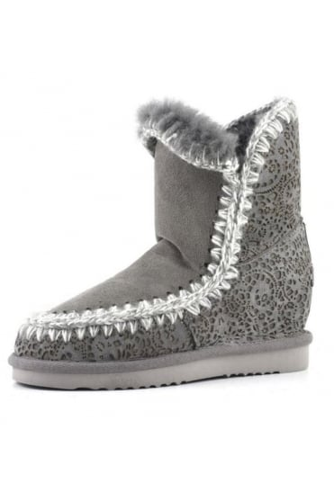 Mou Women's Inner Wedge Short Lasered Grey Boot