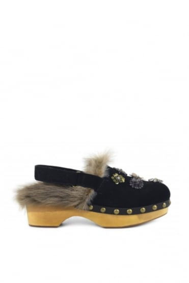 Wood Mixed Flowers Fur Clogs