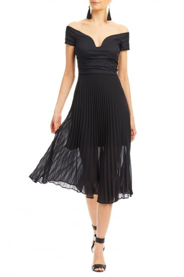 Black Off The Shoulder Pleat Dress CF10133