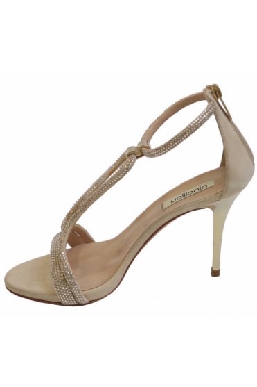 Ninalilou Women's 803 25105 Strappy Crystal Gold Heels