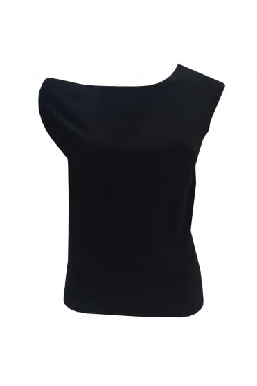 Black Drop Cold Shoulder Top