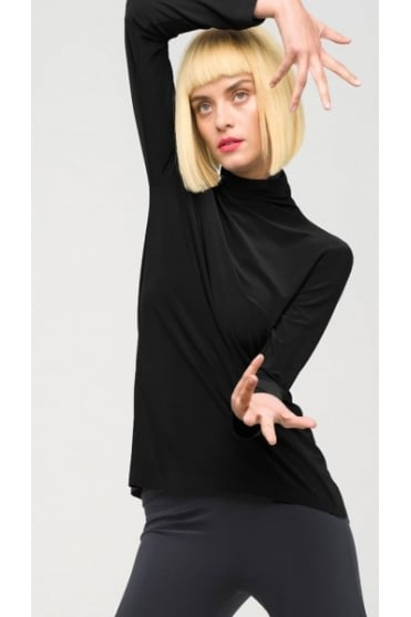 Black Turtleneck Top KK4266PL111001