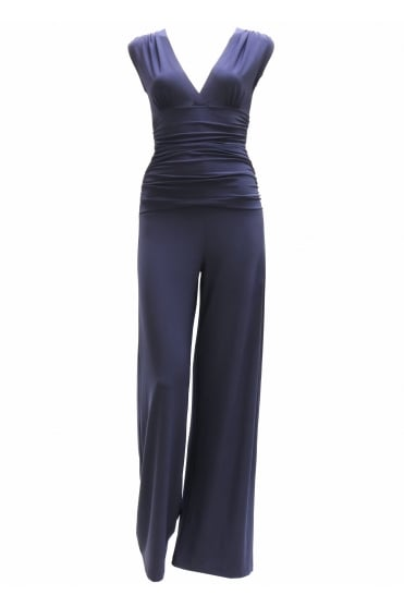 Sleeveless V Neck Shirred Waist Jumpsuit