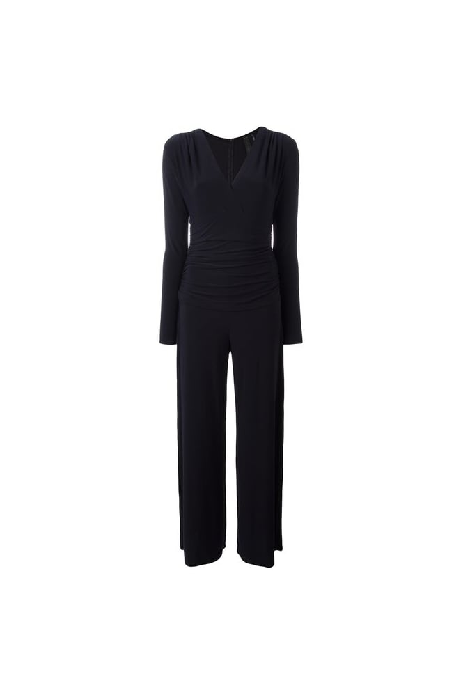 NORMA KAMALI Women's KK326JPL335012 Shirred Waist Navy Jumpsuit