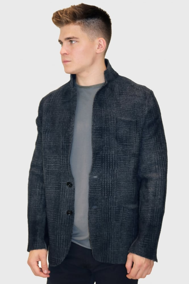 PHIL PETTER Men's 23614 Knitted Navy/Grey Jacket