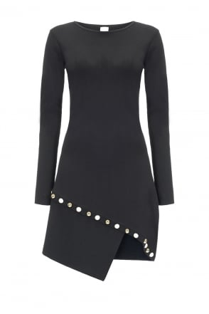 Pinko Black Fortunatamente Dress With Pearl Detailing