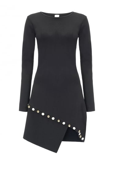 Black Fortunatamente Dress With Pearl Detailing