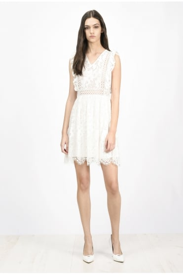 White Lace Felice Mini Dress