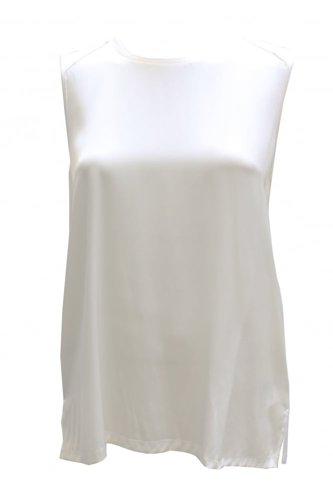 Repeat Silk White Sleeveless Top 88132