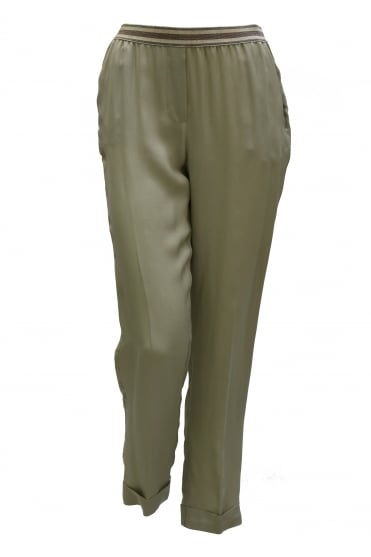 Silk Pull Up Elasticated Trousers S3141P