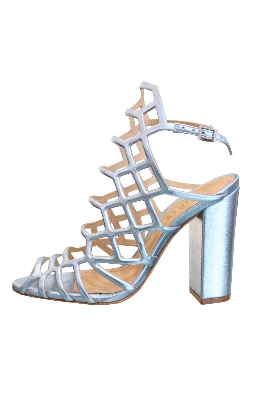 51b4aefb44259d SCHUTZ Schutz Women s 050M Metallic Caged Sandal Blue Heels - WOMAN ...