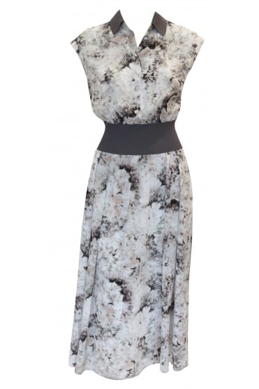 Abstract Flower Dress with Elasticated Waistband 3127/W