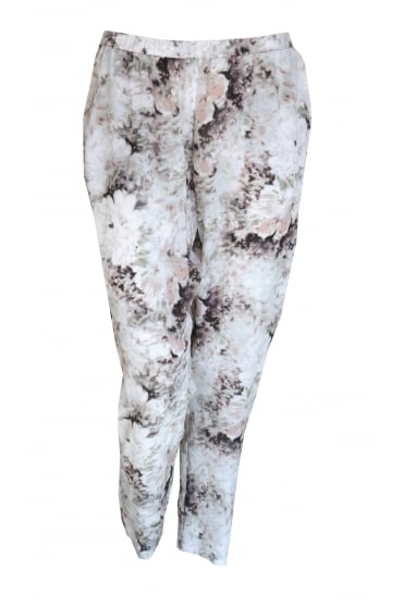 Abstract Flower Silk Trouser 3123/W