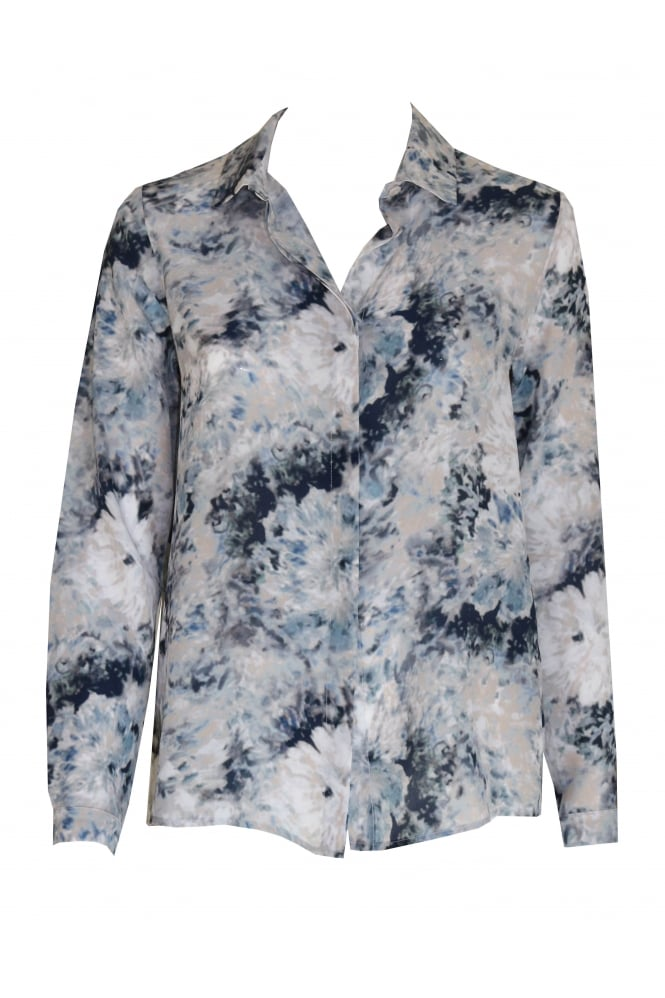 Shes So Blue Abstract Flower Shirt 3121/W