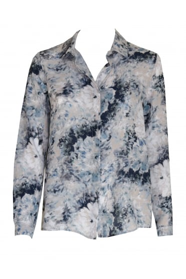 Blue Abstract Flower Shirt 3121/W
