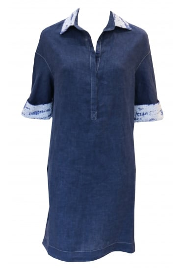 Dark Blue Linen Oversized Shirt Dress 3066/L