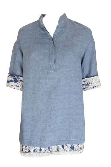 Light Blue Linen Shirt 3078/L