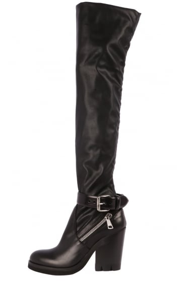 Strategia Women's A2203-D Black Over The Knee Boot