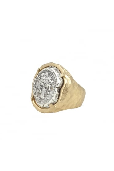 Gold Fira Framed Coin Ring R044