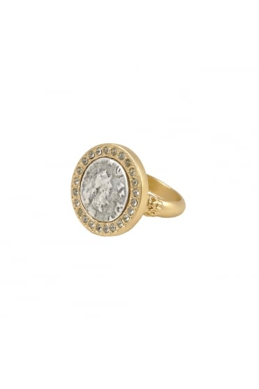 Gold Hestia Coin Ring R049