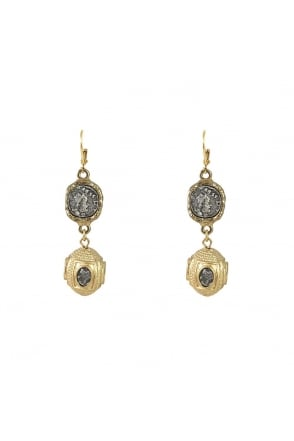 Tat2 Gold Jaipur Coin and Bead Earring E163