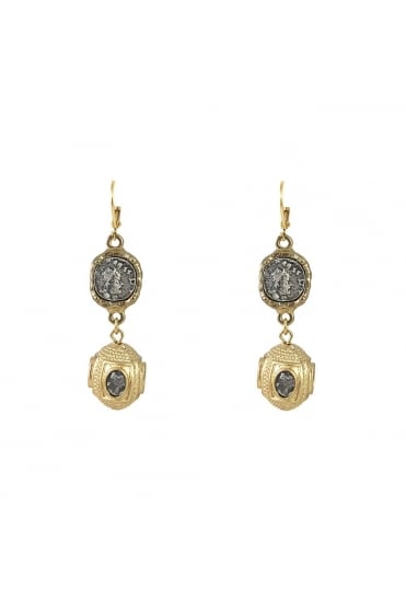 Gold Jaipur Coin and Bead Earring E163