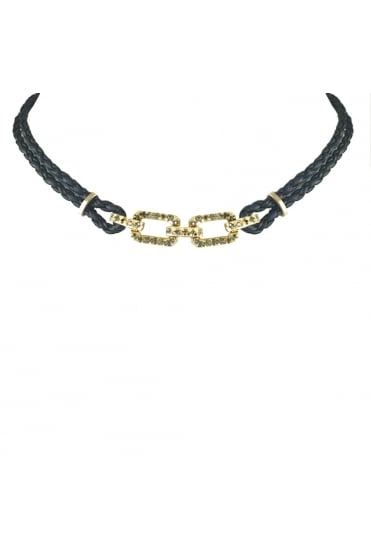Gold Link Leather Choker N506