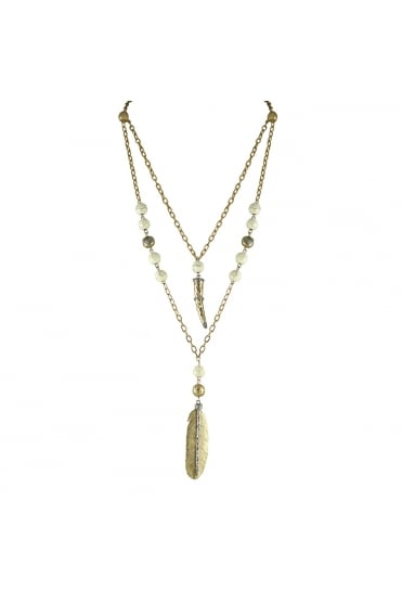 Two Tier Horn & Feather Necklace N417