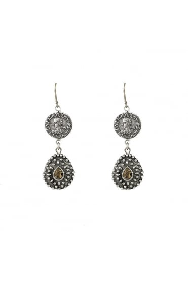 TAT2 Women's E157 Orai Coin and Tear Drop Gold or Silver Earrings