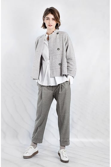 Knitted Grey Cardigan Coat 1702365