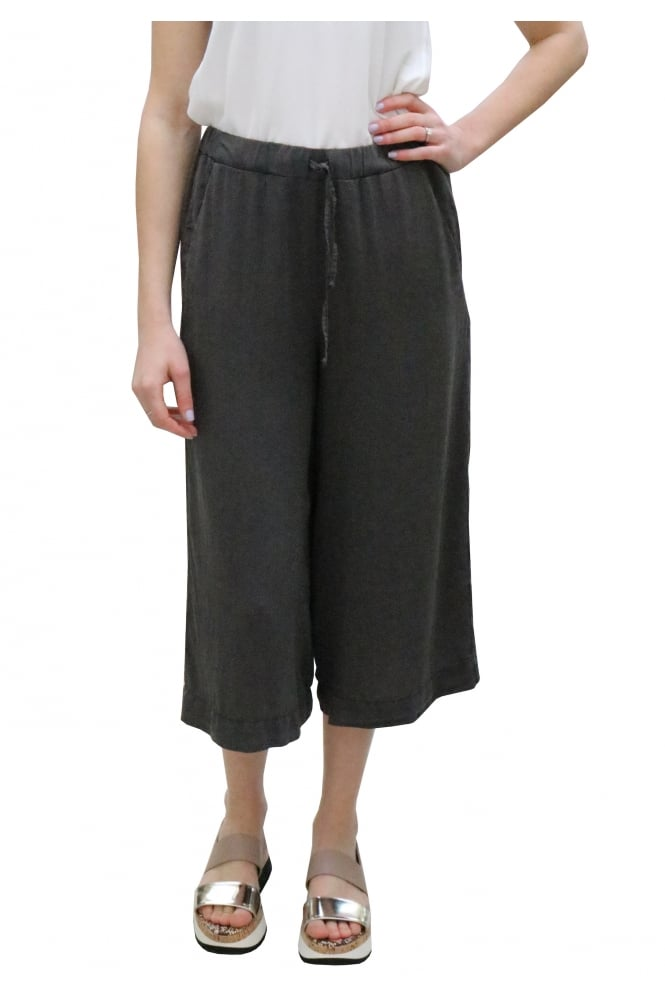 Transit Grey Satin Culotte Trousers CFDTRCF151