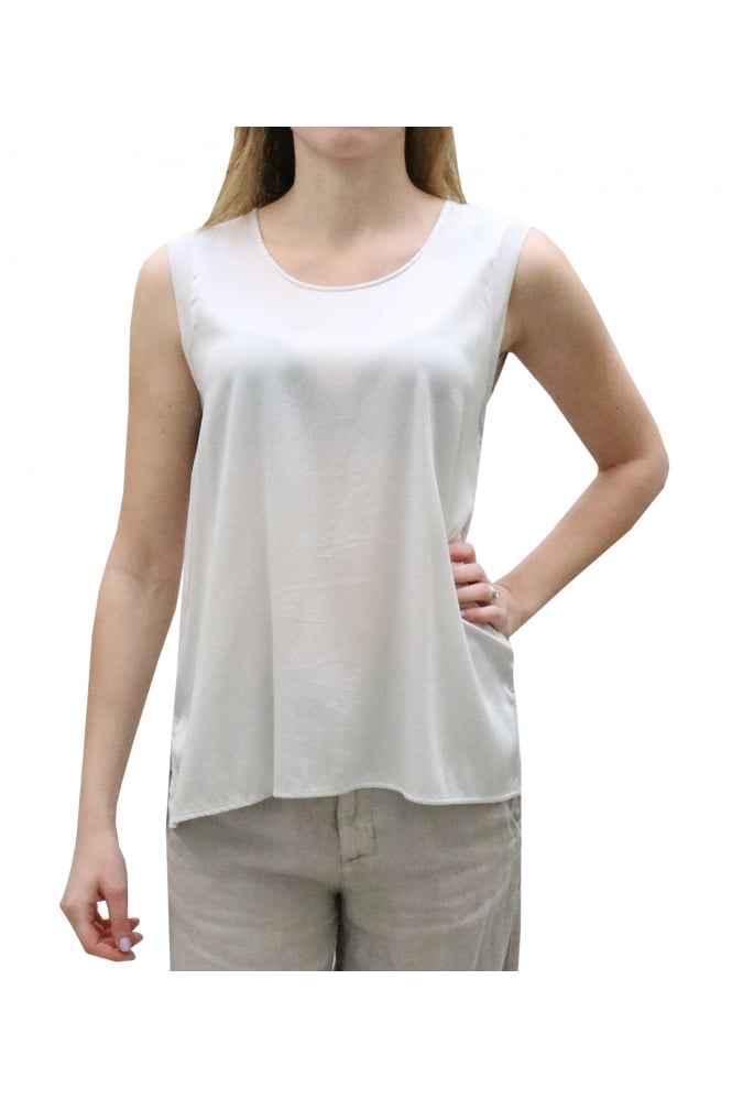 TRANSIT Women's CFDTRCJ197 Sleeveless Silk White Top